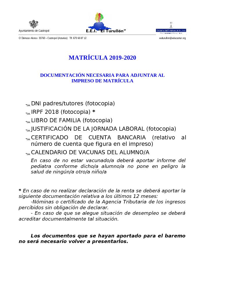 Agencia Tributaria Calendario 2020.Documentacion Matricula 2019 2020 Doc Medio Ambiente